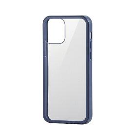 エレコム ELECOM iPhone 12/12 Pro 6.1インチ対応 ハイブリッドケース 360度保護 ガラス ブルー