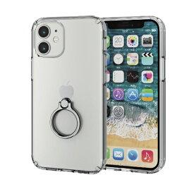 エレコム ELECOM iPhone 12 mini 5.4インチ対応 ハイブリッドケース リング付き シルバー