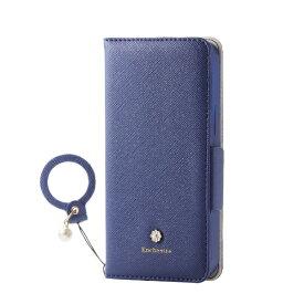エレコム ELECOM iPhone 12 mini 5.4インチ対応 レザーケース 手帳型 Enchante 磁石付き リング付き ネイビー