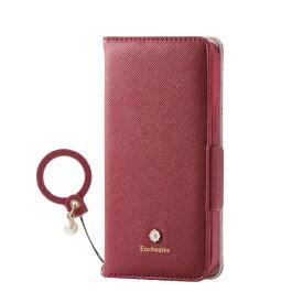 エレコム ELECOM iPhone 12 mini 5.4インチ対応 レザーケース 手帳型 Enchante 磁石付き リング付き レッド