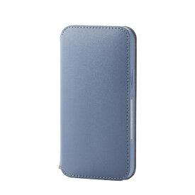 エレコム ELECOM iPhone 12 mini 5.4インチ対応 レザーケース 手帳型 NEUTZ 磁石付き ブルー