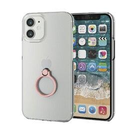 エレコム ELECOM iPhone 12 mini 5.4インチ対応 ハードケース リング付き ピンク