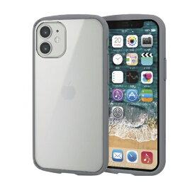 エレコム ELECOM iPhone 12 mini 5.4インチ対応 ハイブリッドケース TOUGH SLIM LITE フレームカラー グレー