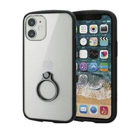 エレコム ELECOM iPhone 12 mini 5.4インチ対応 ハイブリッドケース TOUGH SLIM LITE フレームカラー リング付き ブラック