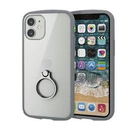 エレコム ELECOM iPhone 12 mini 5.4インチ対応 ハイブリッドケース TOUGH SLIM LITE フレームカラー リング付き グレー
