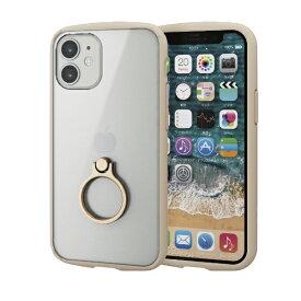 エレコム ELECOM iPhone 12 mini 5.4インチ対応 ハイブリッドケース TOUGH SLIM LITE フレームカラー リング付き アイボリー