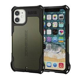 エレコム iPhone 12 mini 5.4インチ対応 ハイブリッドケース ZEROSHOCK カーキ