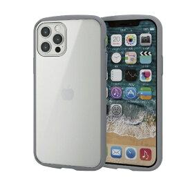 エレコム ELECOM iPhone 12/12 Pro 6.1インチ対応 ハイブリッドケース TOUGH SLIM LITE フレームカラー グレー