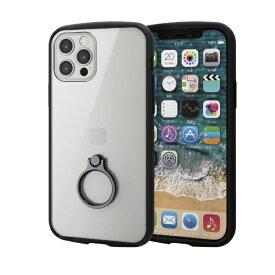エレコム ELECOM iPhone 12/12 Pro 6.1インチ対応 ハイブリッドケース TOUGH SLIM LITE フレームカラー リング付き ブラック