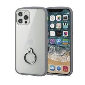 エレコム ELECOM iPhone 12/12 Pro 6.1インチ対応 ハイブリッドケース TOUGH SLIM LITE フレームカラー リング付き グレー