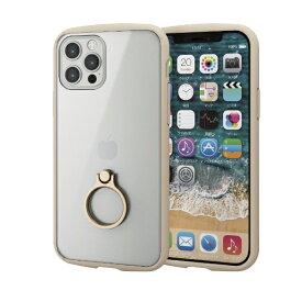 エレコム ELECOM iPhone 12/12 Pro 6.1インチ対応 ハイブリッドケース TOUGH SLIM LITE フレームカラー リング付き アイボリー