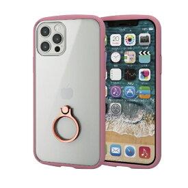 エレコム ELECOM iPhone 12/12 Pro 6.1インチ対応 ハイブリッドケース TOUGH SLIM LITE フレームカラー リング付き ピンク