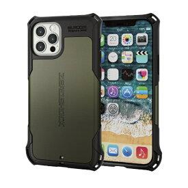 エレコム iPhone 12/12 Pro 6.1インチ対応 ハイブリッドケース ZEROSHOCK カーキ
