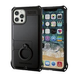 エレコム ELECOM iPhone 12/12 Pro 6.1インチ対応 ハイブリッドケース ZEROSHOCK リング付き ブラック
