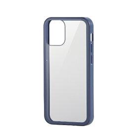 エレコム ELECOM iPhone 12 mini 5.4インチ対応 ハイブリッドケース 360度保護 ガラス ブルー