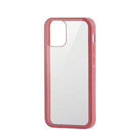 エレコム ELECOM iPhone 12 mini 5.4インチ対応 ハイブリッドケース 360度保護 ガラス ピンク