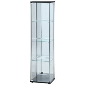 不二貿易 Fuji Boeki ガラスコレクションケース 4段(背面ミラー) LED ブラック(高さ162cm)