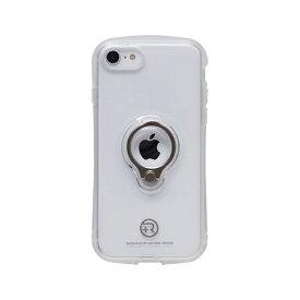 ナチュラルデザイン NATURAL design iPhoneSE2 フィンガーリング付衝撃吸収背面ケース +R Clear White iPSE+R01