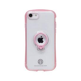ナチュラルデザイン NATURAL design iPhoneSE2 フィンガーリング付衝撃吸収背面ケース +R Clear Pink iPSE+R04