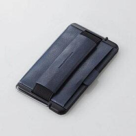 エレコム スマートフォン用ストラップ スマホバンド レザー カード収納 スタンド機能 ネイビー P-STBLCNV