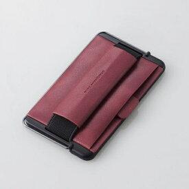 エレコム スマートフォン用ストラップ スマホバンド レザー カード収納 スタンド機能 レッド P-STBLCRD
