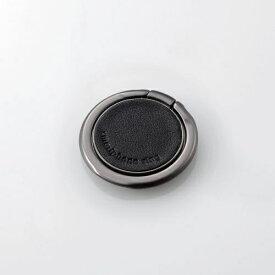 エレコム ELECOM スマートフォン用ストラップ スマホリング レザー 薄型 ブラック P-STRSLLBK