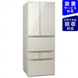 東芝 6ドア冷蔵庫 サテンゴールド GR-S510FK(EC)《基本設置料金セット》