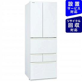 東芝 6ドア冷蔵庫 グランホワイト GR-S460FK(EW)《基本設置料金セット》