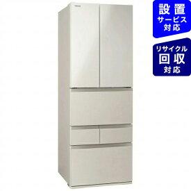 【2020年11月04日発売】 東芝 6ドア冷蔵庫 サテンゴールド GR-S460FK(EC)《基本設置料金セット》