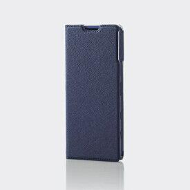 エレコム ELECOM Xperia 5 II レザーケース 手帳型 UltraSlim Flowers 薄型 磁石付き ネイビー PM-X203PLFUJNV