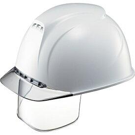 谷沢製作所 TANIZAWA SEISAKUSHO タニザワ エアライト搭載ヘルメット(透明バイザータイプ・溝付・通気孔付・ワイドシールド付) 透明バイザー: グレー/帽体色: 白 1830VJ-SE-V2-W1-J
