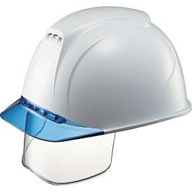 谷沢製作所 TANIZAWA SEISAKUSHO タニザワ エアライト搭載ヘルメット(透明バイザータイプ・溝付・通気孔付・ワイドシールド付) 透明バイザー: ブルー/帽体色: 白 1830VJ-SE-V5-W1-J