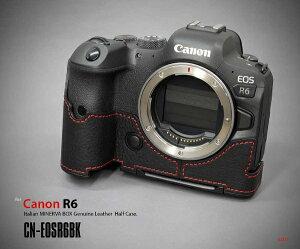 リムズ LIM'S キヤノン EOS R6用 本革カメラハーフケース ブラック レッドステッチ CN-EOSR6BK