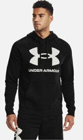 アンダーアーマー UNDER ARMOUR メンズ トレーニング UAライバルフリース ビッグロゴ フーディー(XLサイズ/Black×Onyx White)1357093