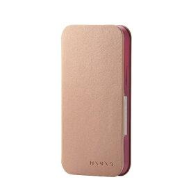 エレコム ELECOM iPhone 12 mini レザーケース 手帳型 MINIO ソフトテラコッタ×ワインレッド PM-A20APLFMINBR