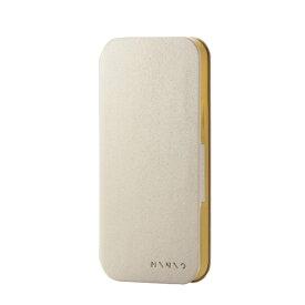エレコム ELECOM iPhone 12 iPhone 12 Pro レザーケース 手帳型 MINIO パールグレー×オーカーイエロー PM-A20BPLFMINSG