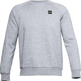 アンダーアーマー UNDER ARMOUR メンズ トレーニングシャツ UAライバルフリース クルー(LGサイズ/Mod Gray Light Heather×Onyx White) 1357096 011