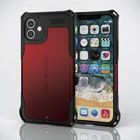 エレコム ELECOM iPhone 12 ハイブリッドケース ZEROSHOCK 超極み レッド PMCA20BZEROKRD