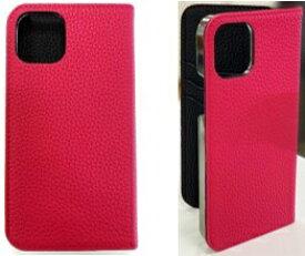 LORNA PASSONI ロルナパッソーニ LORNA PASSONI - German Shrunken Calf Folio Case for iPhone 12/12 Pro [ Purple Rose x Black ] LPPRBFLIP2061