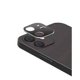エレコム ELECOM iPhone 12 mini カメラレンズカバー ハイブリッド アルミ ガラス シルバー×ブラック PM-A20AFLLP3SV