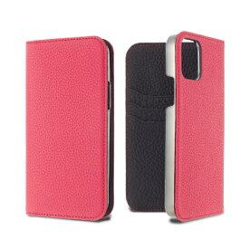 LORNA PASSONI ロルナパッソーニ LORNA PASSONI - German Shrunken Calf Folio Case for iPhone 12 Pro Max [ Purple Rose x Black ] LPPRBFLIP2067