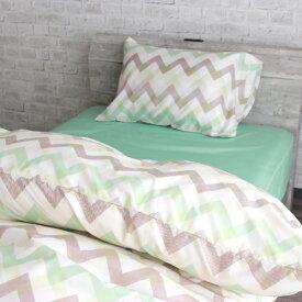 小栗 OGURI ふとんカバー3点セット ベッド・敷ふとん兼用 シングルロングサイズ シェブロン グリーン LS3-915-53
