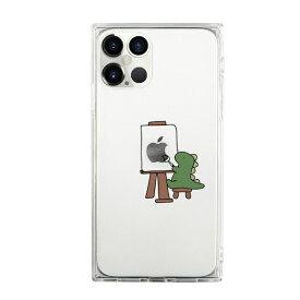 ROA ロア iPhone 12 Pro Max 6.7インチ対応ソフトスクウェアケース おしごとザウルス—画家 グリーン