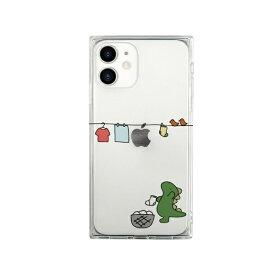 ROA ロア iPhone 12 mini 5.4インチ対応 ソフトスクウェアケース おしごとザウルス—お洗濯 グリーン