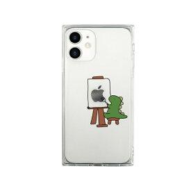 ROA ロア iPhone 12 mini 5.4インチ対応 ソフトスクウェアケース おしごとザウルス—画家 グリーン