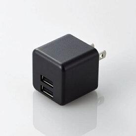 エレコム ELECOM AC充電器 スマホ・タブレット用 2.4A出力 おまかせ充電搭載 キューブ型 ブラック MPA-ACU11BK [2ポート /Smart IC対応]