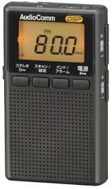 オーム電機 OHM ELECTRIC イヤホン巻取り液晶ポケットラジオ AudioComm ブラック RAD-P209S-K [AM/FM /ワイドFM対応]