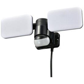 オーム電機 OHM ELECTRIC リモコン付LEDセンサーライト 2灯 コンセント式 ブラック R-LS1200