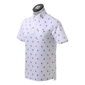 フットジョイ FootJoy メンズ カクテルプリントシャツ(Lサイズ/ホワイト) FJ-S21-S16