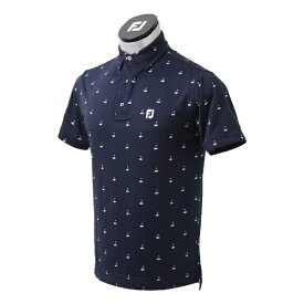 フットジョイ FootJoy メンズ ゴルフプリント ライルシャツ(Lサイズ/ネイビー) FJ-S21-S04
